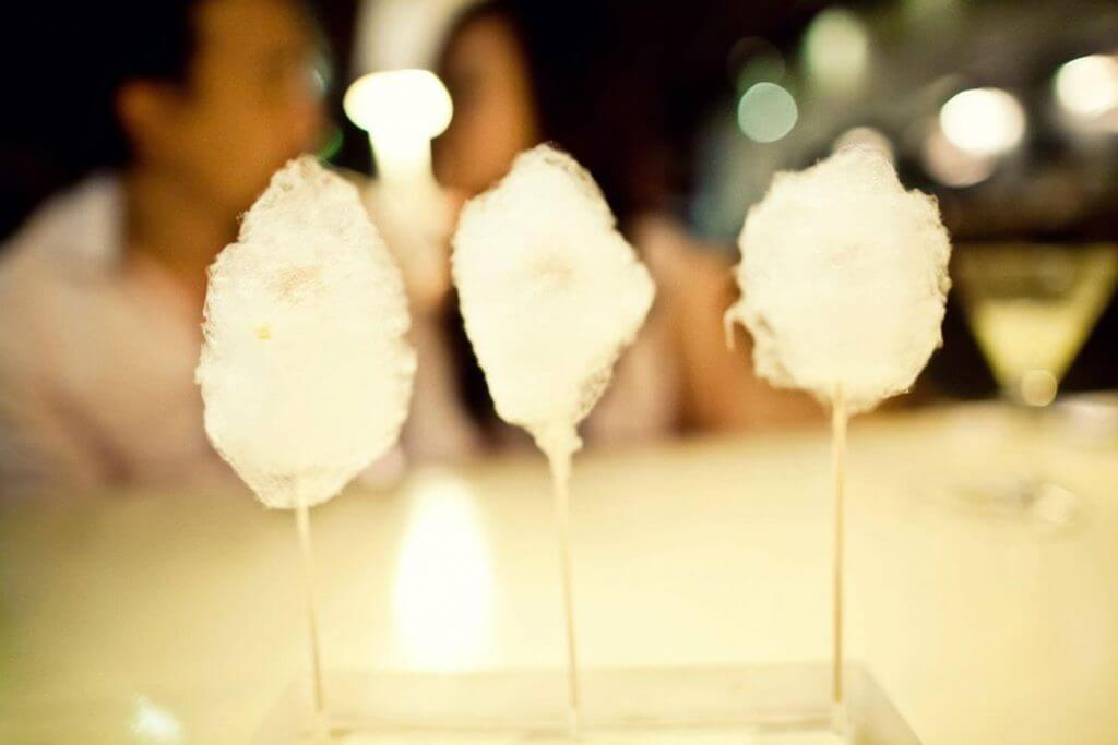 Appetizer-Cotton Candy Foie Gras (cotton candy duck liver): tiny bit of amazing foie wrapped in the world's smallest cotton candy on a stick