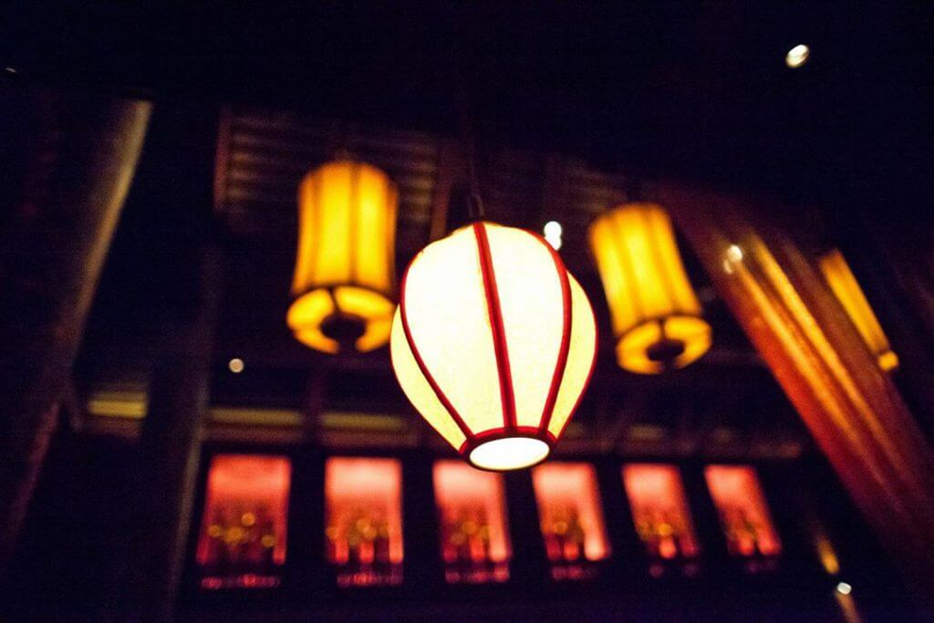 The atmosphere here is wonderful,....high ceilings, ambiance lighting, waterfall walls, and beautiful lanterns!
