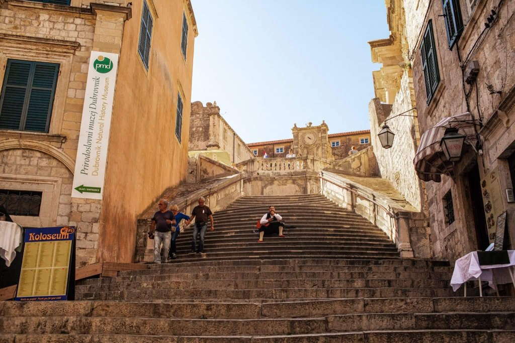 You can find these stairs leading up to the St Ignatius church in the Jesuit Quarter.